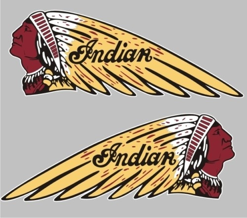 Bm 12003 Indian Motorcycle Head Pair Bumper Sticker Decal