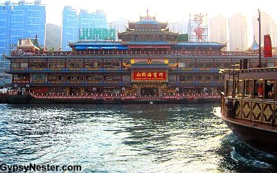 We were absolutely blown away by the famous Jumbo Kingdom in Aberdeen Harbor - not-to-missed visit in Hong Kong! http://www.gypsynester.com/jumbo-kingdom.htm    #travel #china #food #hongkong