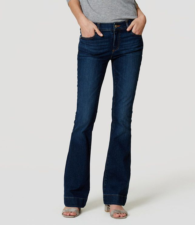 Thumbnail Image of Color Swatch 3993 Image of Petite Flare Jeans in Dark Enzyme Wash