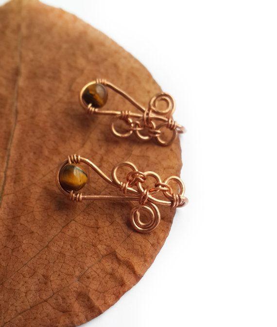 Tiger's eye ear pin  Tigers eye jewelry Ear climber by GuruMIme