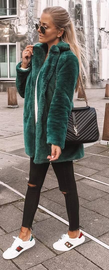 #winter #outfits green coat, white sweater, black ripped jeans, sneakers