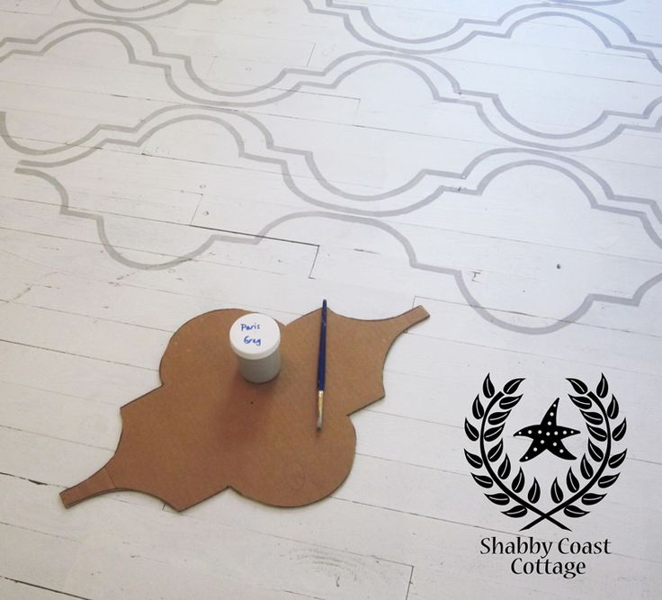 stenciled floor in Annie Sloan chalk paint paris gray. Stunning on 100 year old floors.