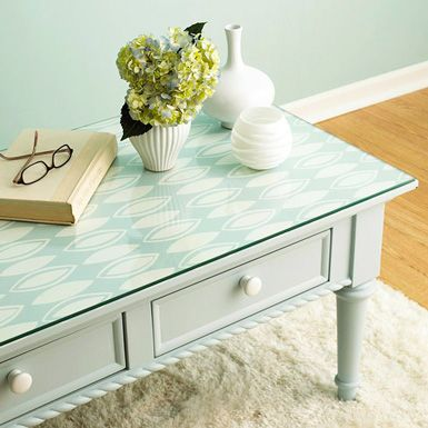 wallpaper on a side table.Could be changed with the seasons, for holidays, etc.