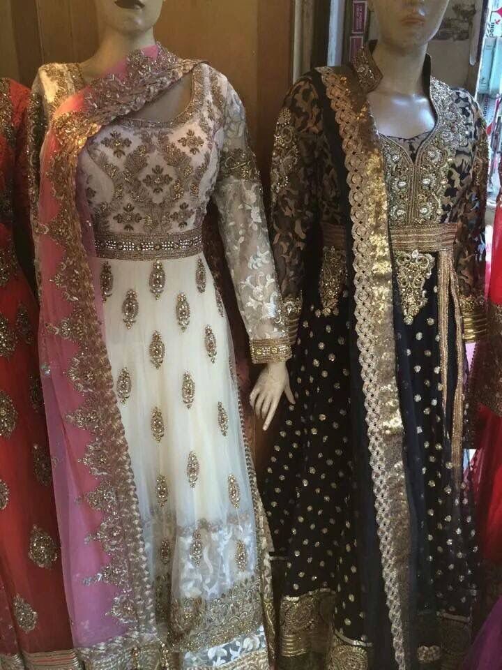 In love with these anarkalis, especially the soft pink and white combination-such a princess feel to it! By Madaan Cloth House Phagwara.