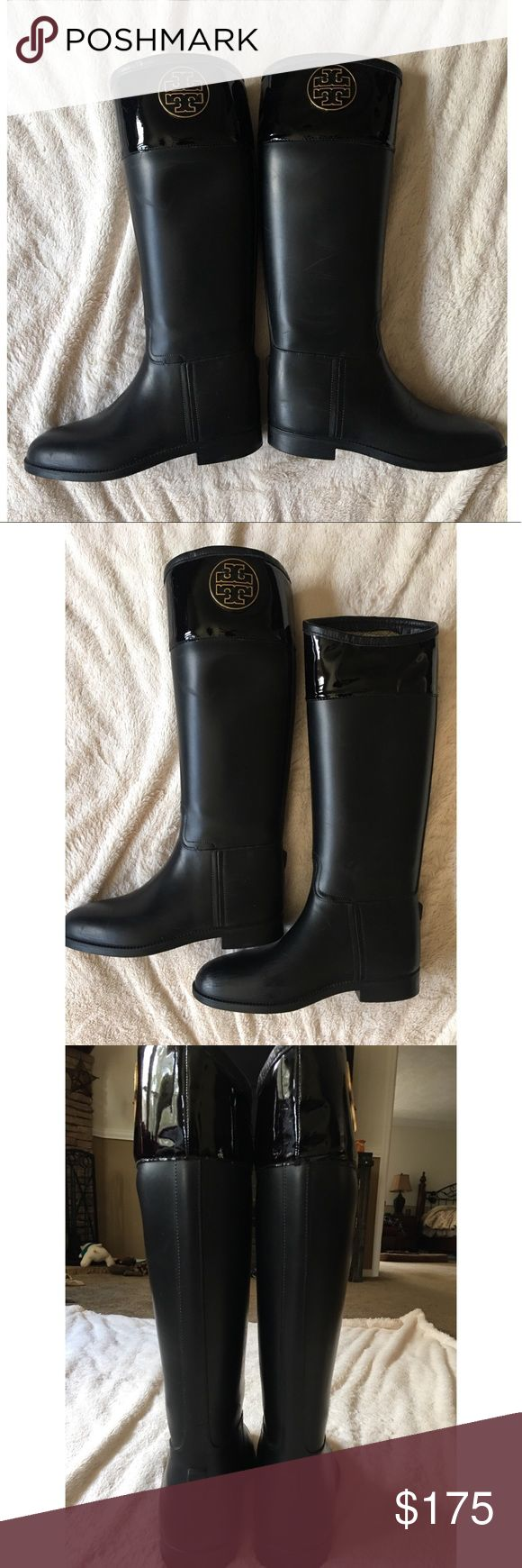 Tory Burch Rain Boots Tory Burch Rain Boots. Lightly used but in great condition. Good heavy duty boots for rain and snow. They are black with a gold Tory logo on each boot. Size 8 and coming from a smoke-free home. They are no longer making this style and they are beautiful!!! No low ball offers please :) Tory Burch Shoes Winter & Rain Boots
