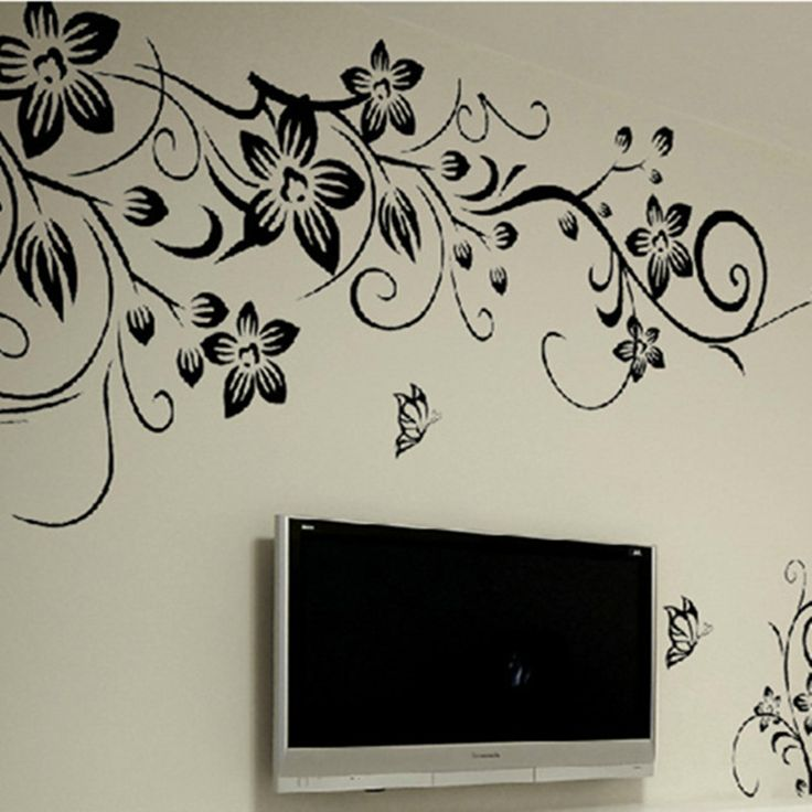 Noble fashion DIY big black flower TV setting wall stickers bedroom sitting room removable vinyl stickers wallpaper