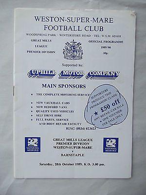 Weston Super Mare FC v Barnstaple 28 10 1989 Gt Mills League Football
