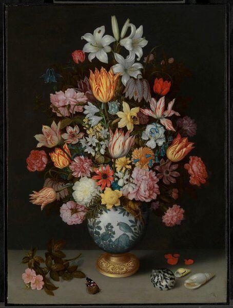 A londoni Nemzeti múzeum virágai életre keltek: Ambrosius Bosschaert the Elder festő A Still Life of Flowers in a Wan-Li Vase képét rakták ki virágokból https://viragotegymosolyert.hu/trafalgar/