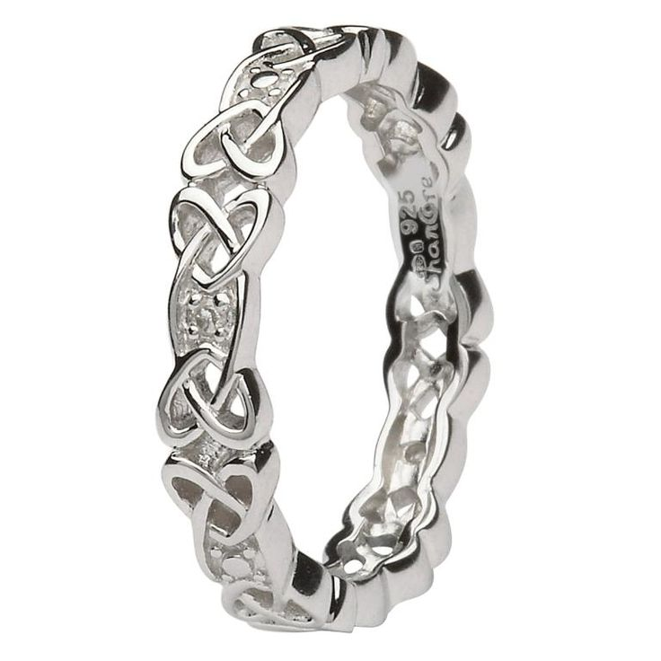 Sterling Silver Ladies Celtic Knot Stone Set Ring