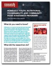 Homeless Youth, Nutritional Vulnerability, and Community Food Assistance Programs - Homeless Hub Research Summary Series   http://homelesshub.ca/resource/homeless-youth-nutritional-vulnerability-and-community-food-assistance-programs-homeless#sthash.WjHLoxJR.dpuf