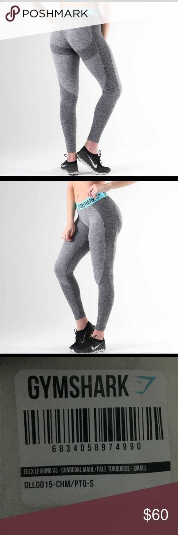 NWT Gym Shark Flex Legging Charcoal Marl/Turquoise Supper comfy athletic leggings with shadowing that helps shape your bottom! I've been dying to get my hands on these, sold out on the gym shark website. Unfortunately they're too long on me 🙁 Gymshark Pants Leggings