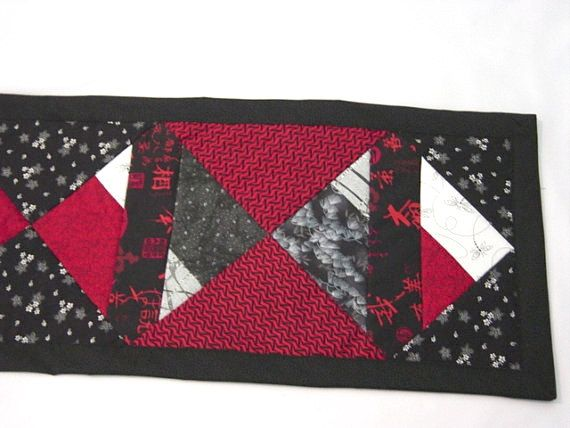 "Asian table runner, black, white and red table runner, 12""x42"" by MyCraftBooth on Etsy https://www.etsy.com/listing/228591731/asian-table-runner-black-white-and-red"