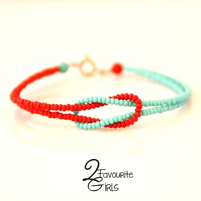 Red & Turquoise Seed Bead Knot Bracelet- cute beading idea!
