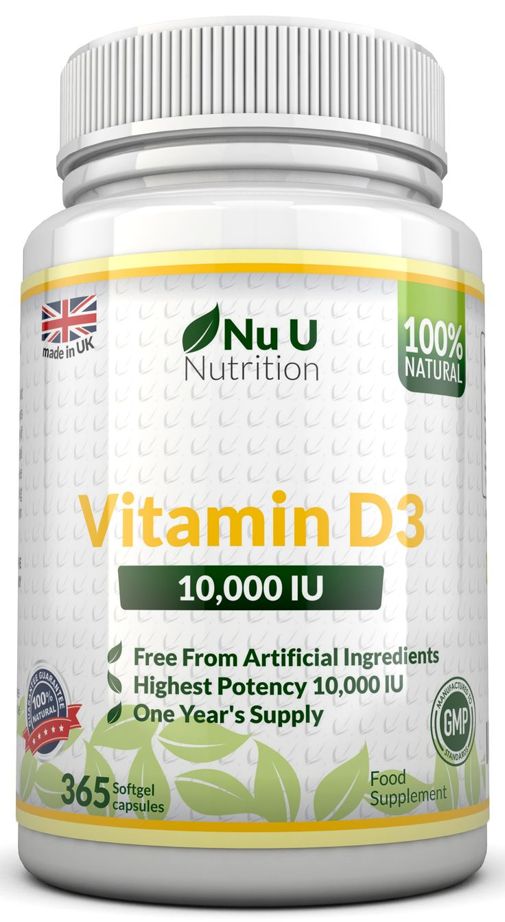 Vitamin D3 10,000iu  Nu U Nutrition Vitamin D3 gives people a boost to their vitamin D3 levels with 10,000 IU per day.    Our supplement comes in the form of a softgel which are easy to swallow and can increase absorption by as much as 25%.  With 365 softgels per bottle you have enough Vitamin D for 365 days, this could last you more than a year depending on how often you take the supplement.  Nu U offer a 100% money back guarantee.