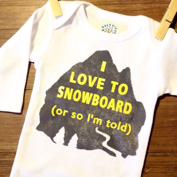 I LOVE TO SNOWBOARD funny onesies for babies by littlesapling