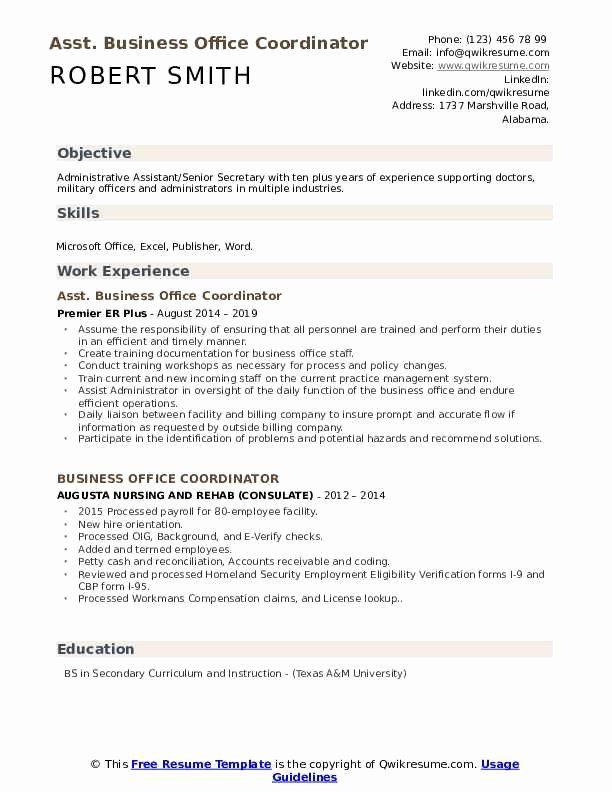 Business Office Coordinator Resume New Business Fice Coordinator Resume Samples In 2020 Resume Skills Good Resume Examples Resume Examples