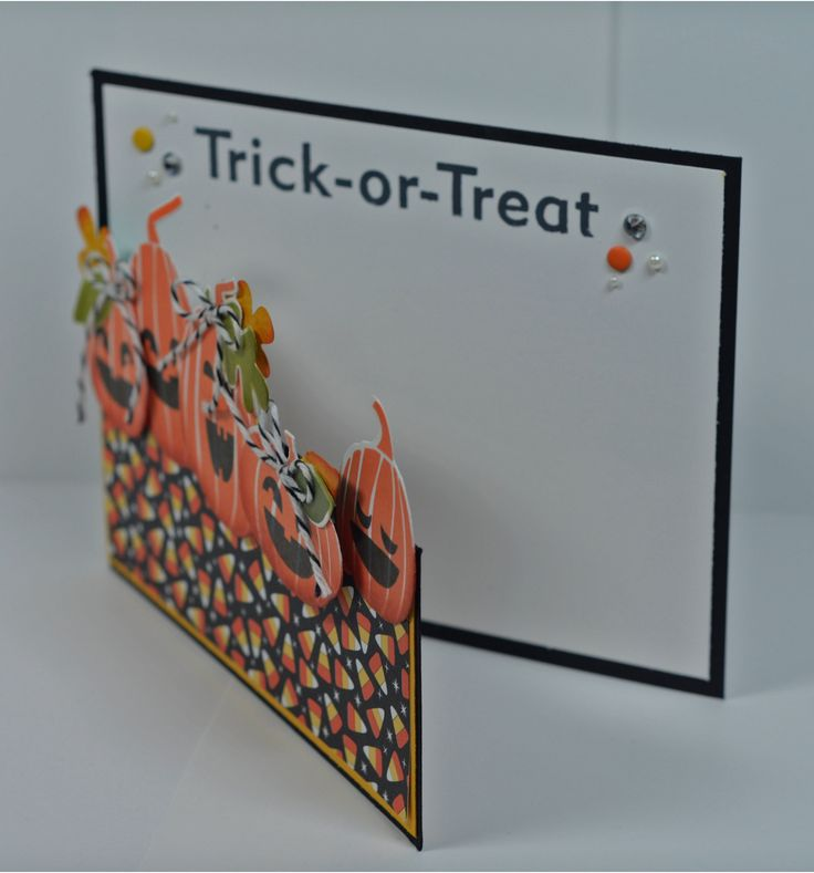 Jack-o-lanterns all in a row on this handmade Halloween card!  Pumpkins from the Fall Fest stamp set are lined up to create this fun look, and by changing up the designer paper, you can make several cards.