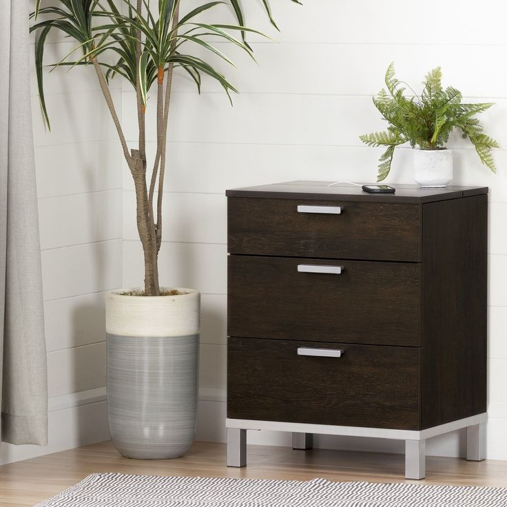 south shore flexible nightstand with charging station and drawers black black finish size 3drawer laminate