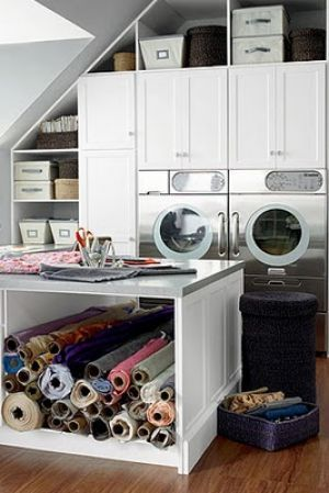Laundries and mudrooms - mylusciouslife.com  Wow, my dream sewing and laundry room/attick.