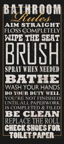 Bathroom Rules by Jim Baldwin Signs Sayings Print Poster 8x18 for Cheap... Visit Site or click on the image for more details, reviews and price comparison.