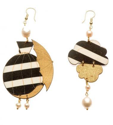 Uomolebole Earrings for Women, Gold, Silk, 2017, One Size
