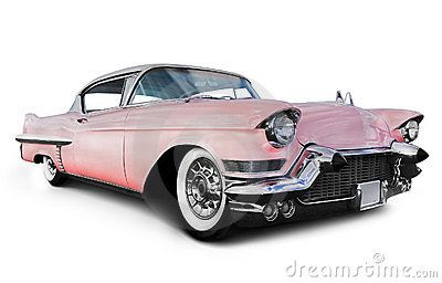 Old Pink Car. Pink cadillac car, isolated on a white background