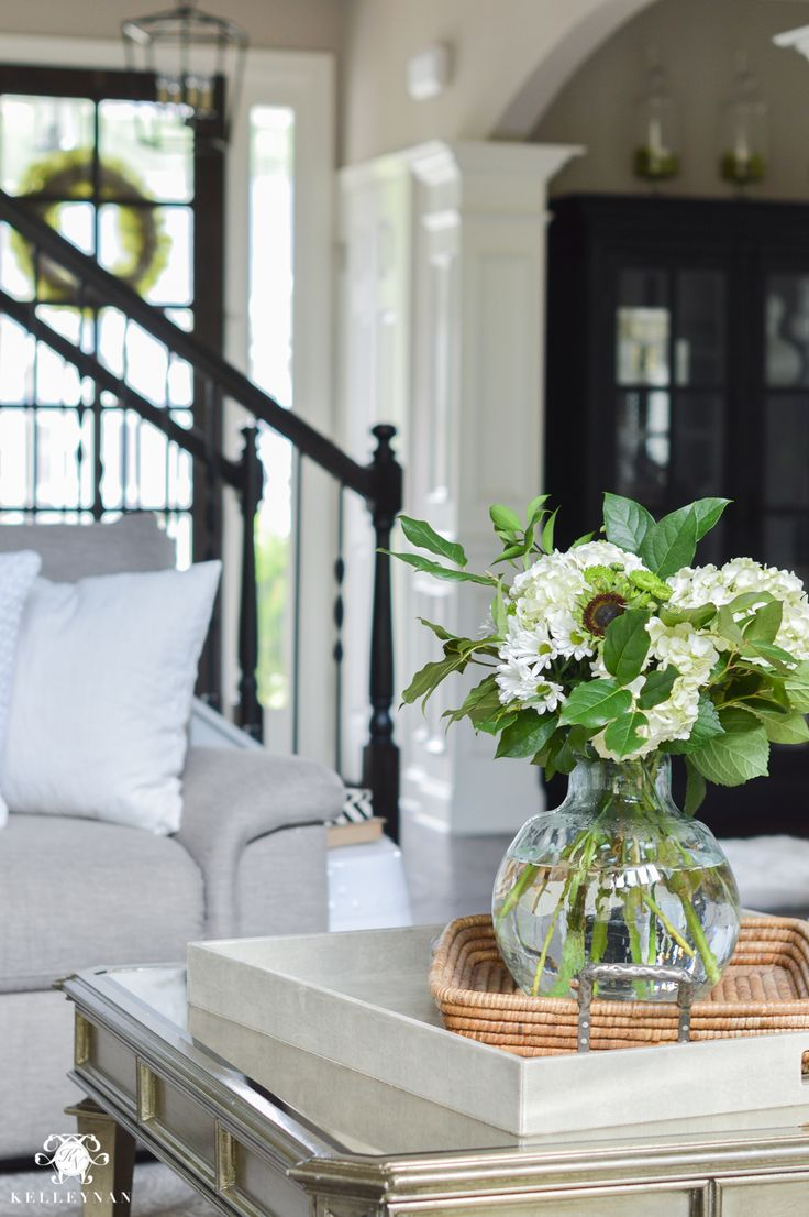 Shades of Summer Home Tour with Neutrals and Naturals- mirrored champagne coffee table