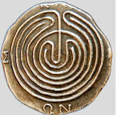 Ancient Cretan tetradrachma coin depicting the legendary Labyrinth (ΚΝΩΣΙΩΝ), home of the Minotaur. c. 300 BC