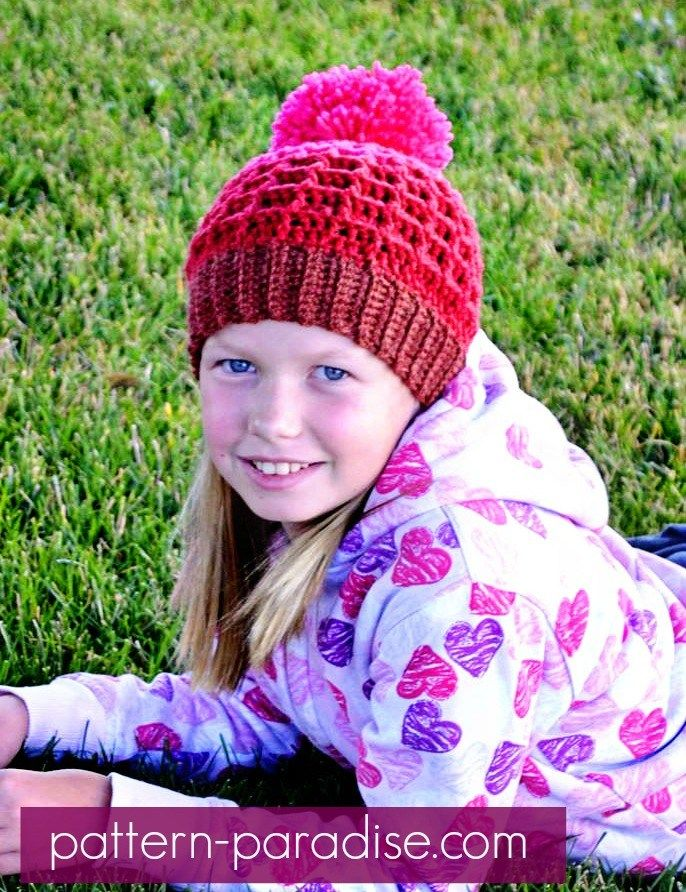 Free Waffle Crochet Hat Pattern - Child & Adult - From Pattern Paradise Made in Caron Cakes Cherry Chip Yarn