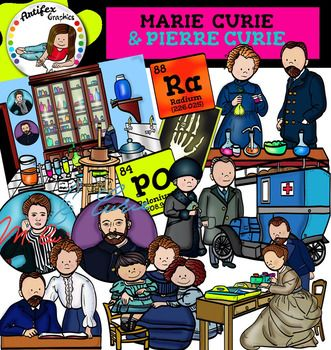 Marie Curie and Pierre Curie clip art set contains 30 image files, which includes 15 color images and 15 black & white images in png.includes: Electrical measurement device, invented by Pierre Curie. Marie and Pierre Curie making experiments. Marie Curie and her two daughters.