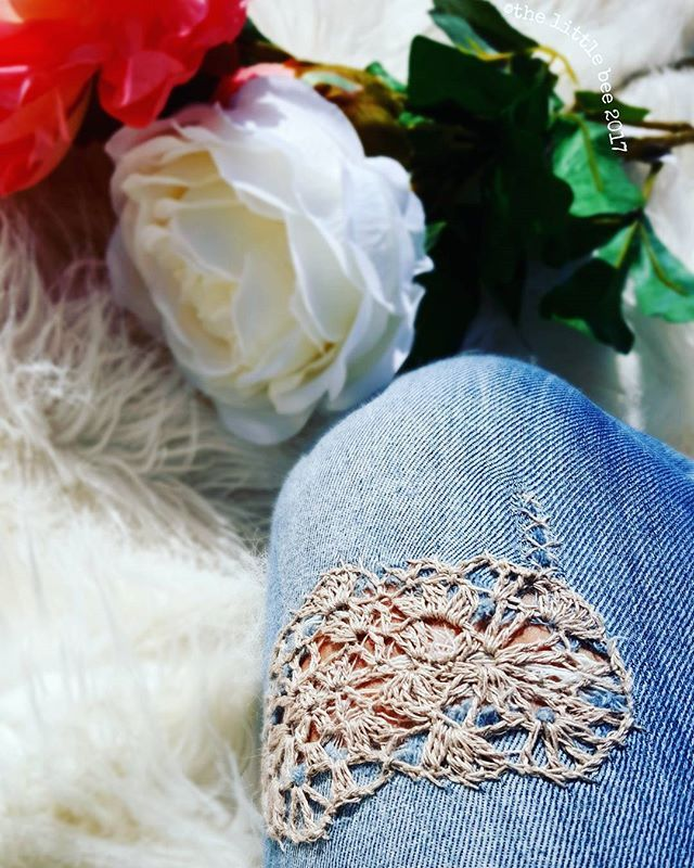 Crochet Linen Patch for jeans