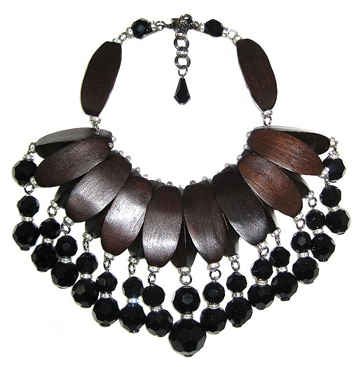 Jewellery by Karen wood and glass bead bib necklace. Details: http://jewellerybykaren.com/boutique/necklaces/necklace-856n