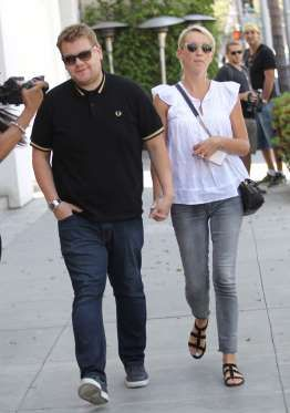 James Corden takes a stroll with his wife Julia in Beverly Hills, California, on April 21, 2016.