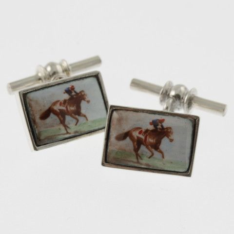 Vintage style sterling silver cufflinks with a racing horse and jockey in blue and red by Sky with Diamonds | Sky with Diamonds