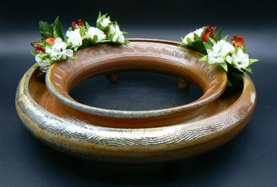 Low Vase Soda Fired Table Centerpiece Ceramic Pansy Ring Pottery Flower Ring Ikebana Coffee T In 2020 Pansies Ikebana Table Centerpieces