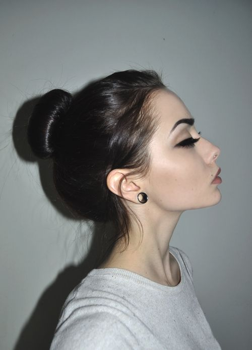 Likable Girl Stuff - awesome, gauges, beautiful, bun, black hair, dark hair, eye...