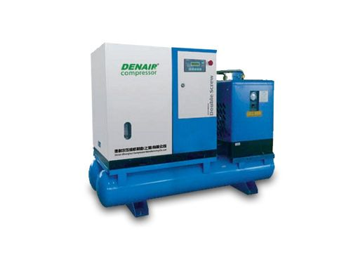 DENAIR Screw Air Compressor With Air Tank Model: DNA-5G Working Pressure(Mpa): 0.75 Air Delivery(m3/min): 0.9 Voltage and IP Grade: 380v IP54 Starting Method: Belt/Air Cooling Noise: 62±2 Dimensions(L)x(W)x(H)mm: 1150x800x1560 Weight(kg): 375 Outlet Pipe Diameter: G3/4  EEI:EEI2 Qualification And Quality Certificate: GC energy-saving Certification, CE European Union standardCertification, ISO9001 the United Kingdom LRQA Certification