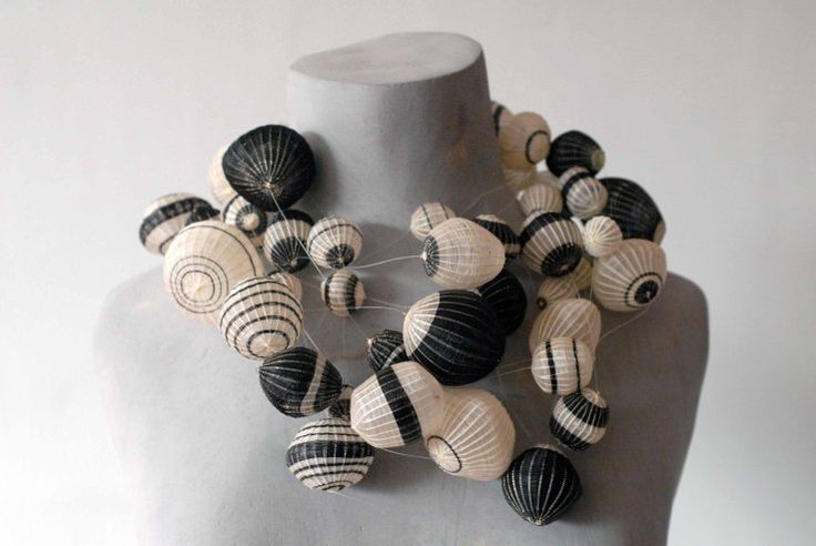 Paula Leal- Black & White Necklace – Horse Hair, vegetable fibers -Inspired in machihembrados balloons, used in traditional Works