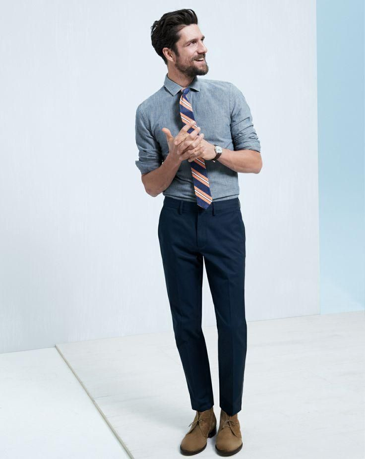 J.Crew Bowery pants worn with the slim cotton twill shirt, English cotton tie