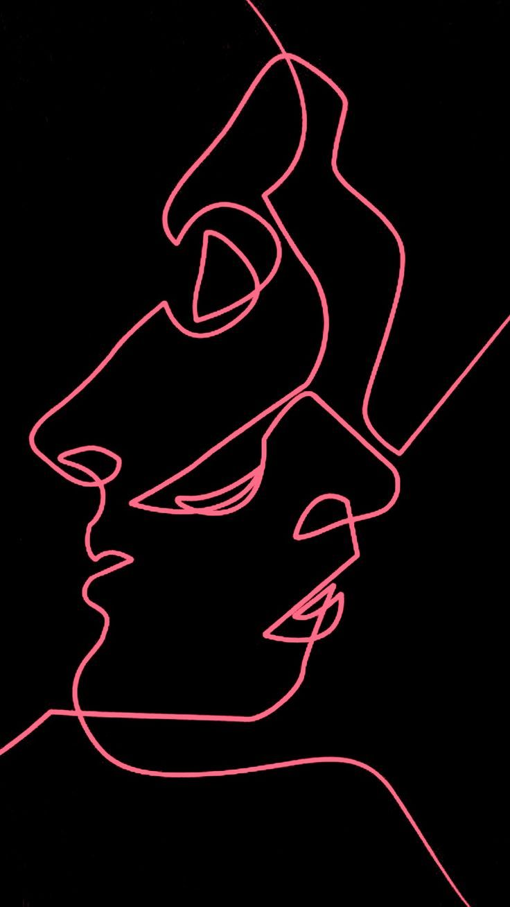 Two Faces One Line Artline Lineart Onelineart Iphone Wallpaper