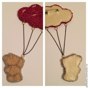 "Брошь ""Мишка и шарики"" Teddy bear, balloons and bear Brooch handmade by YellowLis Instagram: taia_pan"