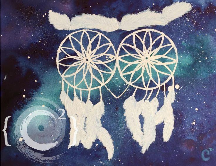 """Dreamcatcher"" Watercolor and gouache painting by Catie Corbin www.catiecorbin.com https://facebook.com/catiecorbin.graphiste/"