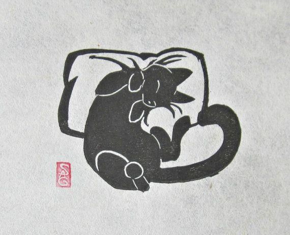 Catnapped  Mini Black Cat Lino Block Print by OniOniOniArt on Etsy, $9.00