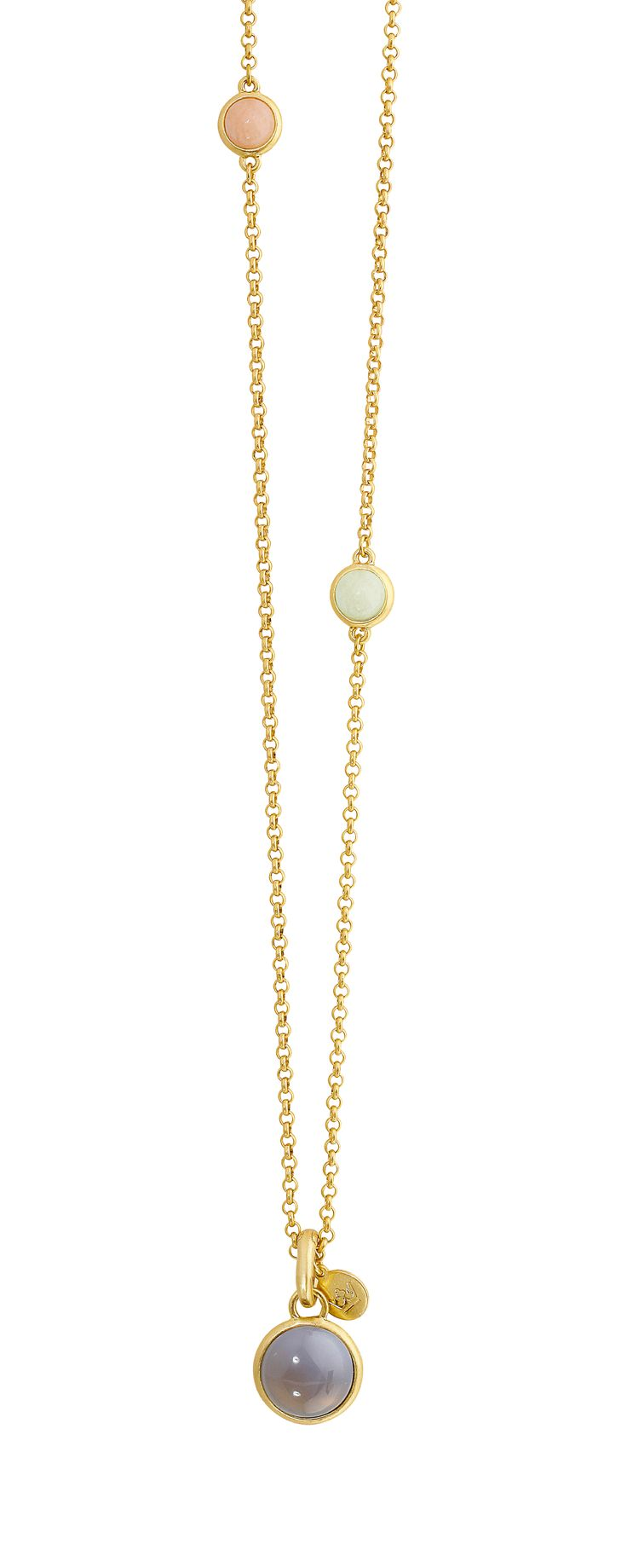 A thing gold chained necklace with coloured  stones by SENCE Copenhagen