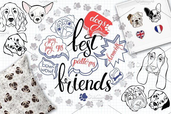 Dogs. Best friends. by maritime_m on @creativemarket