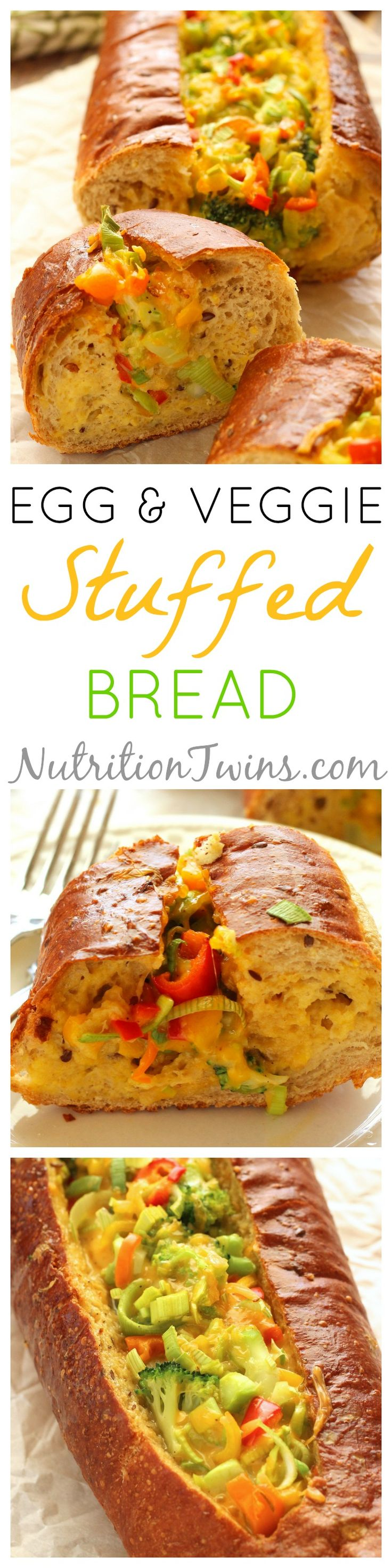 Egg & Veggie Stuffed Bread | Perfect Superbowl Appetizer | Only 154 Calories | Crunchy Outside, Savory & Luscious Inside | Made with @egglandsbest .client | For MORE RECIPES please SIGN UP for our FREE NEWSLETTER www.NutritionTwins.com