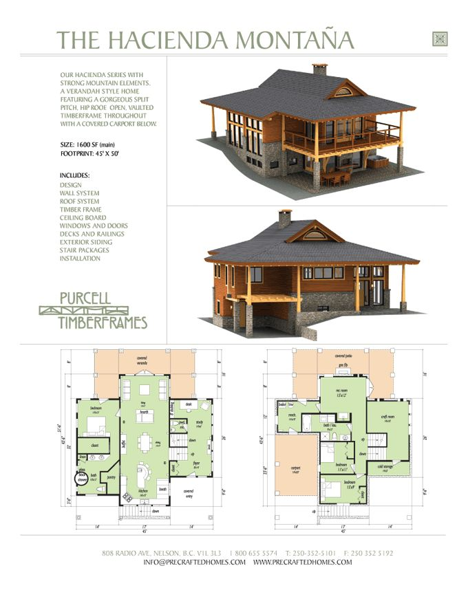 Purcell timber frames the hacienda montana prefab full Hacienda homes floor plans