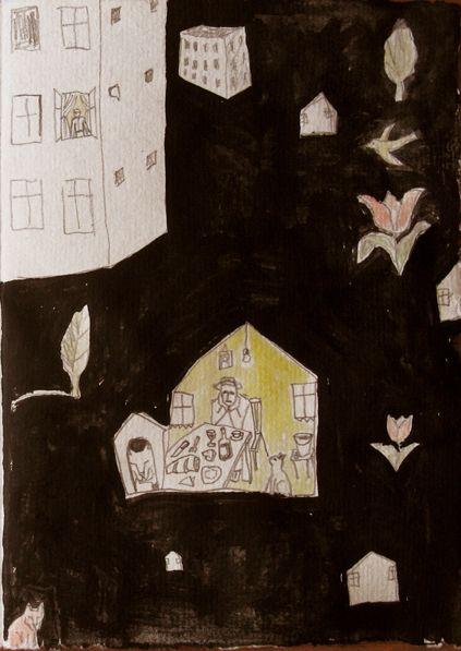 Gravura.Carte bibliofila, Marius Tuca. Vecini dintotdeauna.Desen