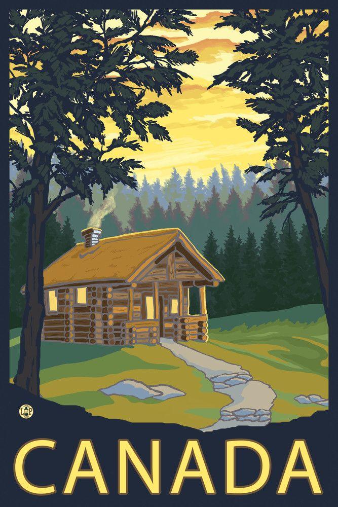 Print (Canada - Cabin Scene - Lantern Press Artwork)