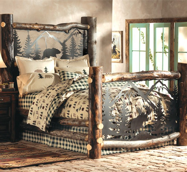 Aspen Log Bed w/ Metal Wildlife Scene